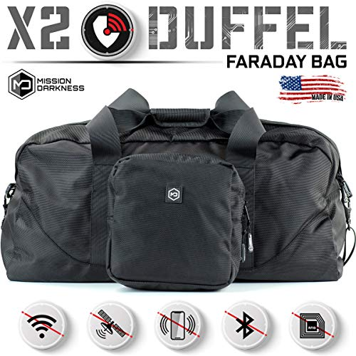 Mission Darkness X2 Faraday Duffel Bag + Detachable MOLLE Faraday Pouch. RF Shielding for Large Electronics & Mobile Devices // Used for Law Enforcement & Military Forensics + Data Privacy