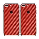 Paquete de 2 Fibra de Carbon Diseño Frustrar Resistente a rayones atrás Pegatina para iPhone 7 Plus | Antideslizante, Antipolvo, Ultra Delgado (70 Micrones) | Espalda a Prueba de Arañazos
