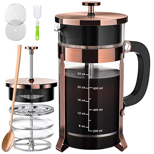 French Press Coffee and Tea Maker(34oz),304 Stainless Steel Coffee Press with 4 Filters Screen-100% No Residue -German Heat-Resistant Borosilicate Glass- BPA  FREE -Dishwasherable,Copper