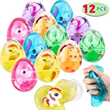 Tinabless 12 PCs Party Favor Putty Slime Eggs, Fluffy & Stretchy Slime with Unicorn Toy for Kids, Stress Relief Sludge Toys, Prefilled Easter Theme Party Favor Supplies, Easter Basket Stuffers