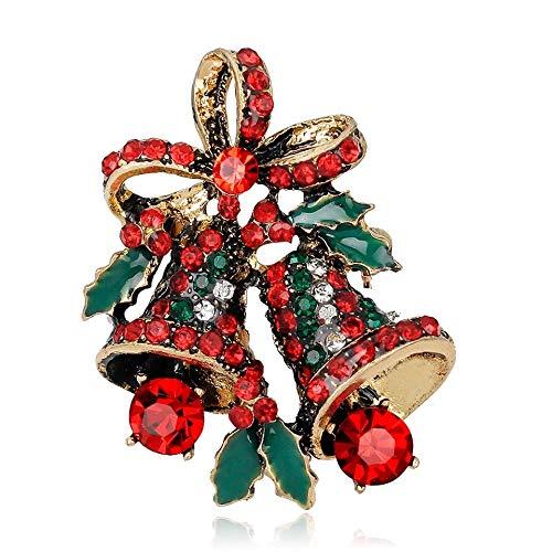 BiBeary, campanellino da donna con spille natalizie e zirconi e Lega, colore: Vintage Golden-ton, cod. XZ0100436