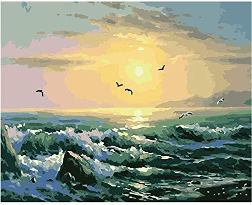 HCDZF Diy Malerei nach Zahlen Kits Fr¨¹hmorgens Meer Sonnenaufgang Digitales ?lgem?lde Leinwand Bild Einzigartiges Geschenk Home Decoration Artwork 40x50cm