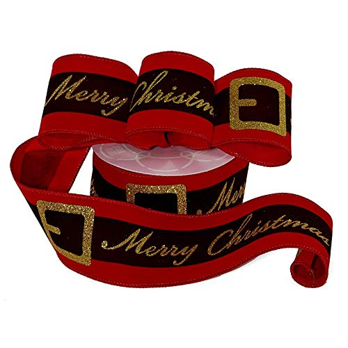 """Santa's Belt Merry Christmas Ribbon - 2 1/2"""" x 10 Yards, Vibrant Red, Gold Glitter Buckle and Merry Christmas, Gift Wrapping, Wreath Decoration, Garland, Tree Topper Bow"""