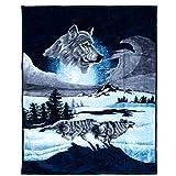 Lavish Home Wolf Heavy Thick Plush Mink Blanket-8 Pound, Multicolor