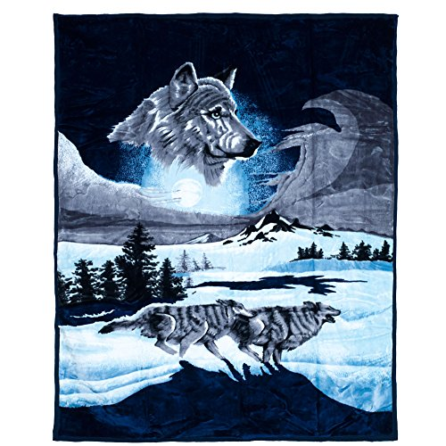 Lavish Home 66-B1365 Wolf Heavy Thick Plush Mink Blanket-8 Pound