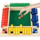 Shut The Box dice Game Board Games Family Game Wooden Board Pub Bar Board Dice Game Math Game for Kids Adults Includes Eight Dices