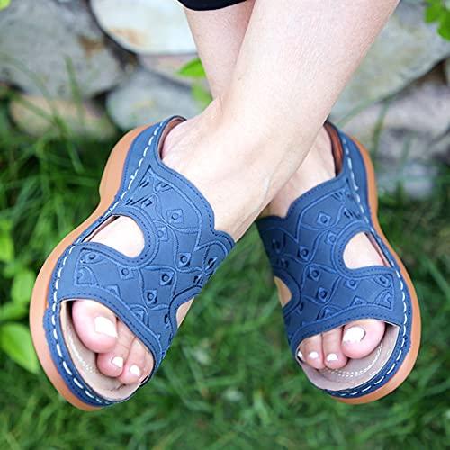 DQYFZQ Zapatillas De Plataforma para Mujer con Estampado Retro Sandalias Y Zapatillas De De Verano CóModas Zapatillas Romanas,Azul,41