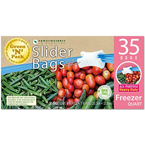 Green N Pack Premium Freezer Slider Bags (BPA Free), Quart, 35 Count