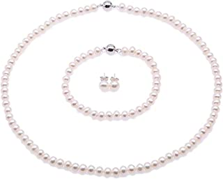 JYX Pearl Necklace Set AA Quality White Freshwater Cultured Pearl Necklace Bracelet and Earrings Set
