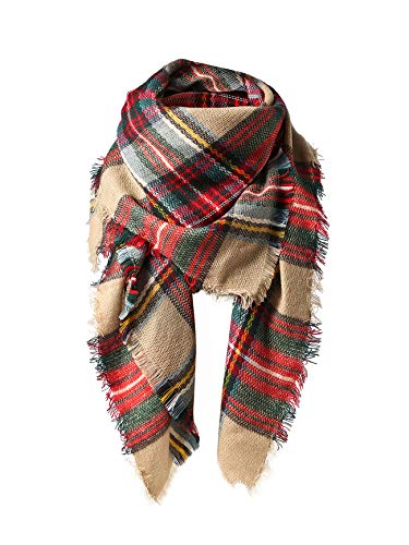 Women's Fall Winter Scarf Classic Tassel Plaid Scarf Warm Soft Chunky Large Blanket Wrap Shawl Scarves Colorful Scarf