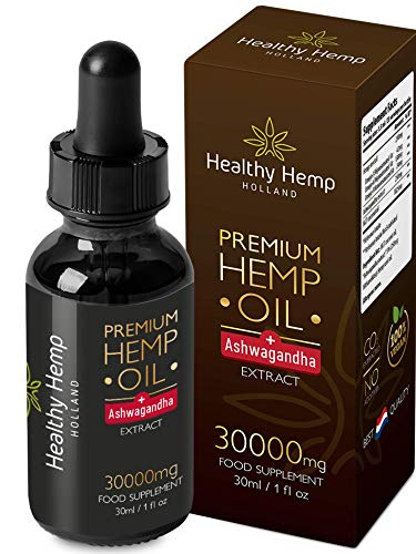 Healthy Hemp Holland – 30ml All-Natural Hemp Oil Drops with Ashwagandha Extract – Cold Pressed High Concentration Formula – Vitality Boost, Stress Relief