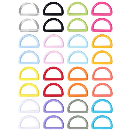 Artibetter 32 Piezas D Anillos D Hebilla Bucle Clip Gancho Sujetadores Plástico Colorido D Anillo Hebilla Correa Hebilla Semicircular (Color Mixto)