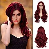 Onpep Simulated Lace Scalp Wigs Wine Red Long Wavy Natural Hairline Wig Glueless Heat Resistant Synthetic Wigs for Women