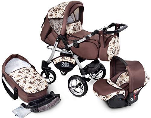 GagaDumi Urbano Passeggino TRIO Baby Carrozzina 3in1 Seggioliono OVETTO AUTO,Fatto nell'Unione Europea (U2-Old Forest)