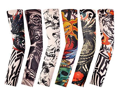 Falsas Mangas de Tatuaje,6 Pack Hombres Nylon Mangas del Brazo Temporal Brazo Deportivo Mangas Elástica Decorados Mangas para Halloween Baloncesto Ciclismo Bloqueador Solar Unisex 38CM