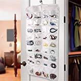 JYHYEU Organizador de joyería colgante, 72 bolsillos para colgar joyas y accesorios