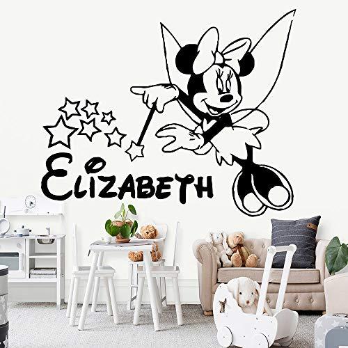 YHZSML Cartoon Maus Little Angel Minnie Wandaufkleber Dekoration Zubehör Für Kinder Mädchen Raum Tapete Wohnkultur XL 57 cm X 70 cm