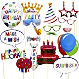 SAYOK Happy Birthday Photo Booth Props 18 PCS, Picture Props Funny Party Favors Supplies with Mustache on a stick, Hats, Glasses, Mouth, Bowties, Balloon for Kids Adults Men and Women