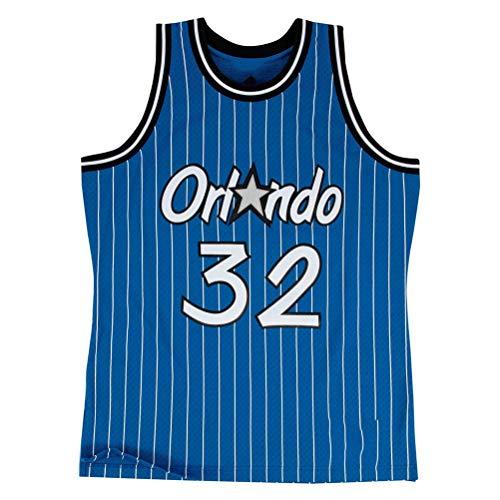 ZGJY Maglia Vintage Orlando Magic # 32 Shaquille O'Neal - Set Classico Senza Maniche, Maglia Dallas, Basket per Uomo e Tuta Basket Unisex Lettere Cucite-Blue-L
