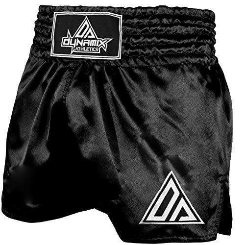 Dynamix Athletics Muay Thai Shorts Origin Schwarz/Weiß - Traditionelle Klassische Thaibox Hose für Herren (L)