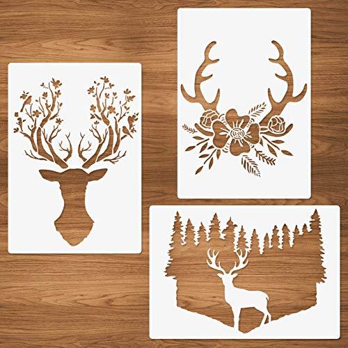 Blumen Wald Rentier Geweih Schablone, 3 Stück Farm Deer Geweih Wiederverwendbare Vorlage A4 Größe zum Malen auf Holz Stoff Leinwand Wand DIY Kunstprojekte 21x29.7cm