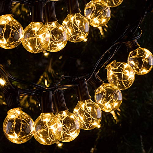 Quntis IP65 Waterproof Outdoor LED String Lights 11.7M 30+3 G40 Bulbs 155 LEDs Patio String Lights CE Standard Warm Indoor Outdoor Fairy Lights for Backyard Bistro Cafe Pergola Tree Party Decoration