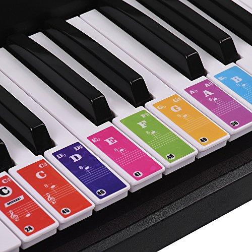ammoon Piano Toetsenbord Stickers voor 37/49/61/88 Toets Toetsenborden Afneembaar Kleurrijk voor Kinderen Beginners Piano Oefenen Leren
