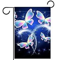 ガーデンサイン庭の装飾屋外バナー垂直旗光沢のある蝶 オールシーズンダブルレイヤー