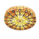 Vintage Tiffany Ceiling Light Hand-Made Colorful Chandelier Flush Mount Lighting Fixture, Lampshade with Mother of Pearl Decor (20 Inch)