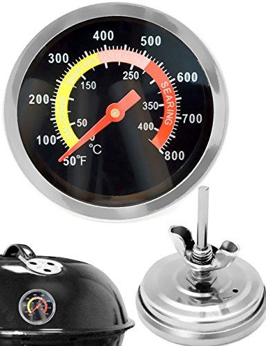 HomeTools.eu® - Temperatur-Beständiges analoges BBQ Grill-Thermometer Koch-Thermometer Smoker-Thermometer, zum Nachrüsten für BBQ Töpfe Bräter Räucher-Ofen, 10°C - 400 °C