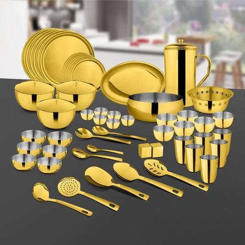 Shri & Sam Majestic Stainless Steel 72 Pieces Dinner Set with PVD Coating for 6 People (Gold)