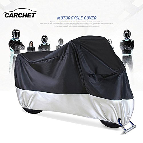 Funda para Moto – Cubierta Impermeable de Motocicleta 190T a Prueba de Polvo Protector UV con Agujeros de Bloqueo Cubierta contra Viento