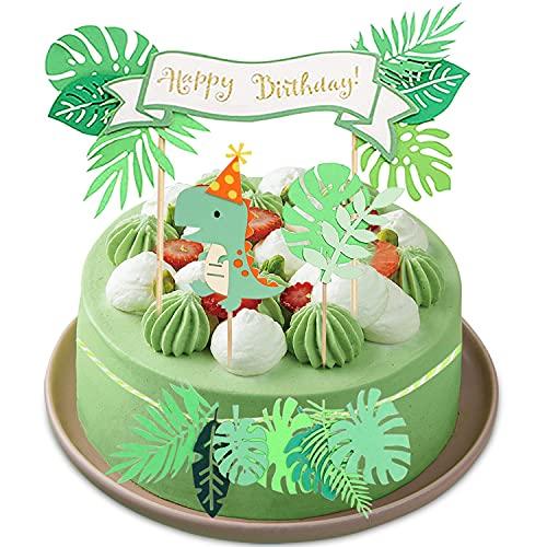 Decoración de Pastel de Dinosaurio, 4 Piezas Decoración de Tartas Cumpleaños, Cumpleaños Cupcake Toppers, Birthday Cake Decorations, para Fiestas Infantiles, Cumpleaños (Verde)
