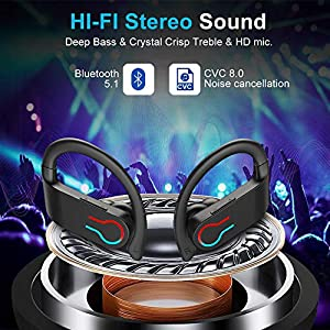 Wireless Earbuds, Bluetooth 5.1 Sport Headphones 40H Playtime TWS Earhooks Headset, HiFi Stereo Sound, Bluetooth Headphones with LED Display, IP7, CVC8.0 Noise Cancelling Mic for Running and Gym