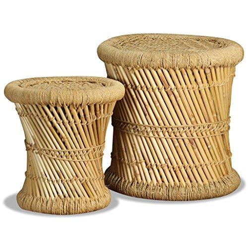 vidaXL Set Taburetes 2 Piezas Bambú Yute Banco Silla Asiento Mueble Mobiliario