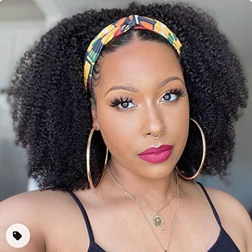 Afro Kinky Curly Headband Human Hair Wigs for Black Women Glueless None Lace Front Wigs Headband Half Wig Human Hair 150% Density Brizilian Virgin Hair Machine Made Headband Wig Human Hair 18Inch