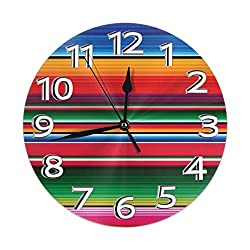 Carwayii Colorful Mexican Blanket Stripes Silent Round Wall Clocks Non Ticking PVC Desk Clock Quality Vintage Decorative Clocks 9.84Inch Lightweight Round Clock Easy to Read for Home Office School