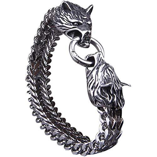 JAOCDOEN Pulseira Viking para homens e mulheres, pulseira de aço de titânio P, presente exclusivo para aniversário de Dia dos Namorados