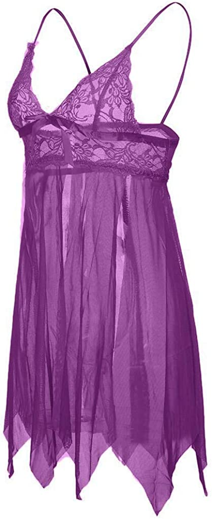 Women Sexy Plus Size Satin Lingerie Lace Chemise Nightgown Mesh