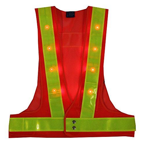 YOA 16 LED Light up Cycling Traffic Outdoor Night Safety Warning Vest (Led Safety Vest Orange)