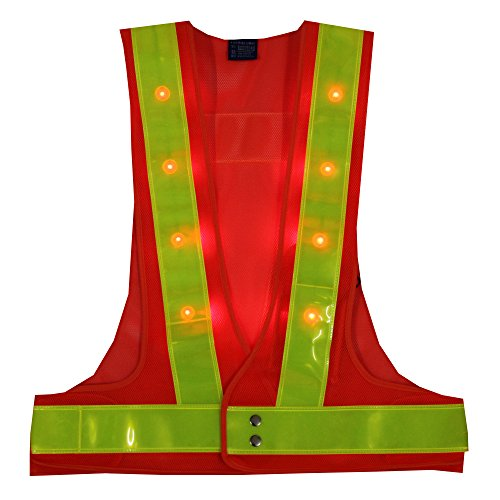 YOA 16 LED Light up Cycling Traffic Outdoor Night Safety Warning Vest (Led Safety Vest Orange)