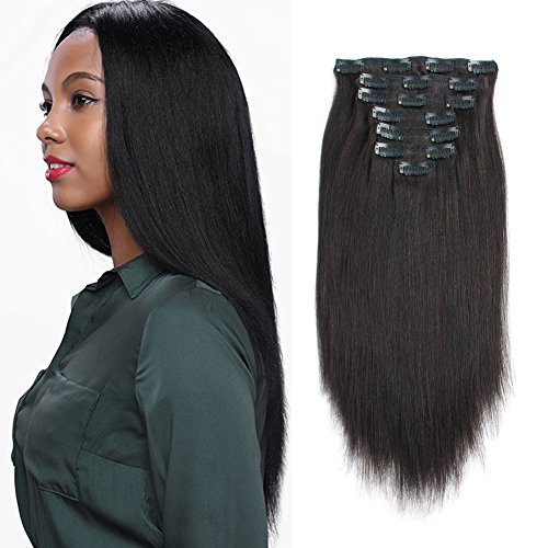 ABH AmazingBeauty Hair Real Remy Thick Yaki Straight Clip Ins Black Hair Extensions for African American Relaxed Hair 7 Pieces 120 Gram Per Set, 14 Inch