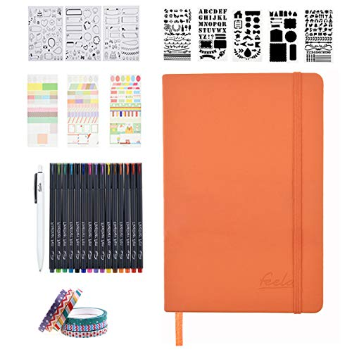 Bullet Dotted Journal Kit, Feela A5 Dotted Grid Journal Set with 192 Pages Orange Notebook, Fineliner Pens, Reusable Stencils, Sticker Sheets, Washi Tapes, Black Pen for Girls School Home Planner