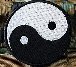 YIN YANG Karate Ying Tai Chi Martial Arts Military Patch Fabric Embroidered Badges Patch Tactical Stickers for Clothes with Hook & Loop (color1)