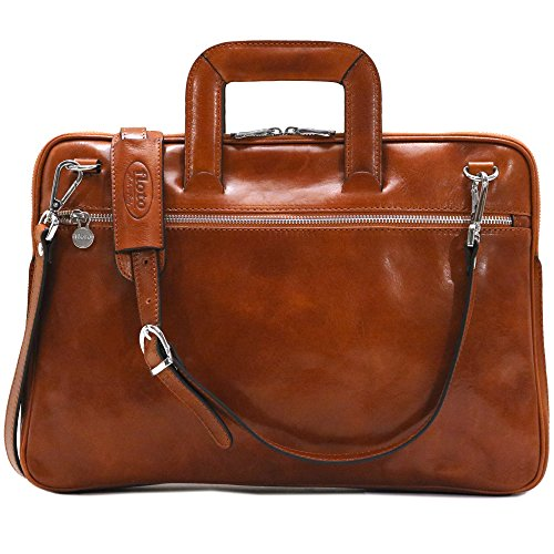 Floto Firenze Slim Briefcase in Olive Brown Calfskin Leather