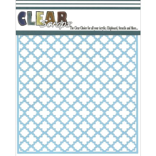 Clear Scraps CSSM6-QTRFO Translucent Plastic Film Stencil, Quarterfoil, 6-Inch x 6-Inch
