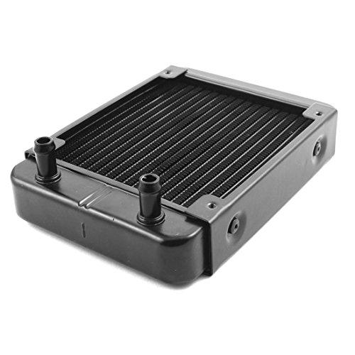 uxcell 水冷式ラジエーター 冷却システム 熱交換器ラジエータ ブラック アルミニウム 18パイプ 120mm