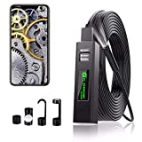 Endoscope Camera Wireless Endoscope 1200P HD Inspection Camera Premium IP67 Waterproof WiFi Borescope with Flexible Rigid Snake Cable for Android iOS iPhone Smartphone (5M)