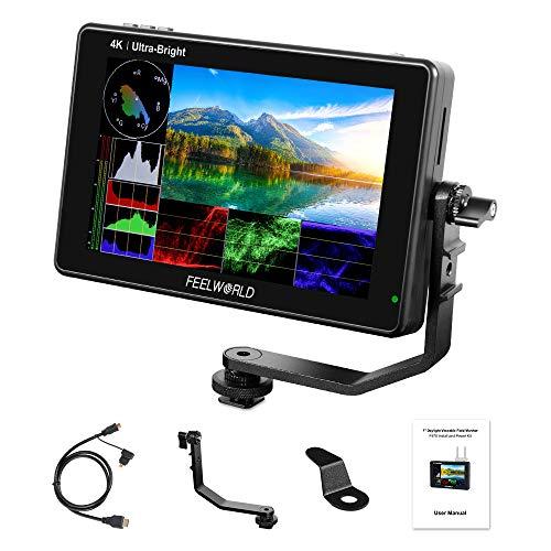 Feelworld LUT7S Pro 7 Pulgadas 2200nits Cámara DSLR Monitor 3D LUT Pantalla Táctil HDR con Forma de Onda F970 Kit de Instalación y Alimentación Externa 4K HDMI 3G-SDI Salida de Entrada 1920X1200 IPS