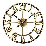 ufengke Reloj de Pared Vintage Europeo Bronce Reloj Quartz Metal Silencioso Elegante...